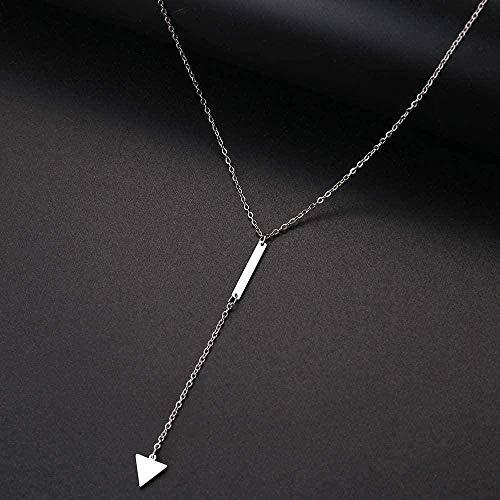 Yiffshunl Collar Collar Mujer Collar Simple Palo Triángulo Colgante Joyería de Acero Inoxidable Collar de Regalo para Mujeres Hombres