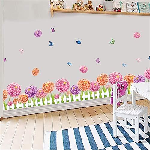 ELGDX Wandaufkleber DIY Blume Bälle Schmetterling Dahlie Zaun Tapete Wohnzimmer Schlafzimmer Wand Kunst Wohnkultur Aufkleber Hintergrund Wandbild