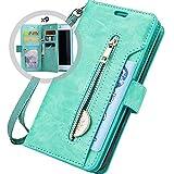 Hnzxy Kompatibel mit Huawei Mate 9 Hülle,PU Leder Tasche Flip Hülle Cover Handyhülle Reißverschluss Geldbörse mit 9 Kartenfächer Lederhülle Magnet Handy Schutzhülle Klapphülle,Grün