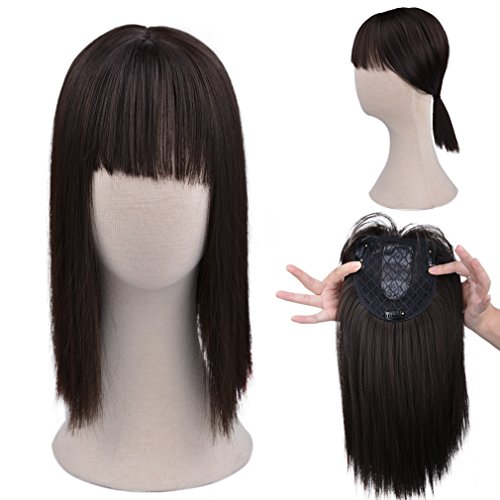 Dark Brown Synthetic Top Toupee with Air Bangs