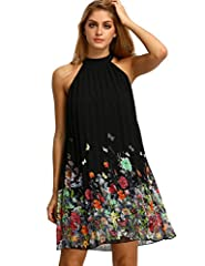 100% polyester Halter neck petite dress , sleeveless, back keyhole, with buttons,Floral printed, short, swing dress Halter neck and back tie design, which can show your sexy shoulder and back. It can be matched with flip flops, sandals, high heels, b...