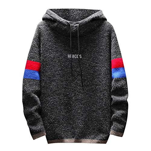Great Price! Men Knitted Hooded Sweatshirts,Letdown Men's Autumn Winter Casual Patchwork Long Sleeve...