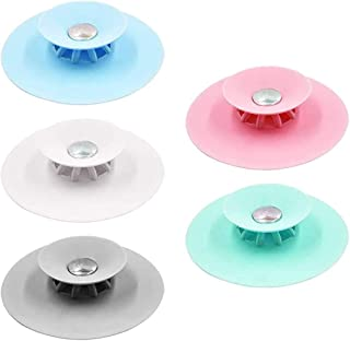 Pubiao 1 Pz Tappi Scarico Vasca da Bagno Aspirazione Tappo Vasca Silicone Universale per Bagno Lavanderia Cucina Accessori per lavelli Grigio