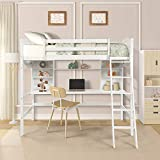 SOFTSEA Twin High Loft Bed with Desk, Storage Shelves and Ladder, Wood Kid's Loft Bed Frame with Bookcase for Teenagers (White)