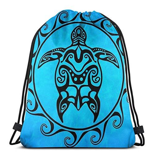 EUKhan Bolsas de cuerdas Black Tribal Turtle Bolso de la mochila del lazo del deporte del bolso del saco del gimnasio en casa para el yoga del deporte de las compras del gimnasio