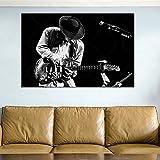 HXLZGFV Lienzo Arte de la Pared música Guitarra músicos Blues Rock Monocromo Sala de Estar decoración del hogar carteles-60x90cm-sin Marco