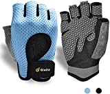 Breathable WorkoutGloves,KnuckleWeightLiftingFingerless GymExercise GloveswithCurvedOpenBack,forPowerlifting,Crossfit,WomenandMen (Blue, Small)