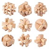 Brain Teaser Cube Puzzle Toy Puzzles Wooden Puzzles Jigsaw Kongming Lock 3D (Brain Teasers,Set of 9)