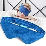 EVQ Heated Eye Mask for Dry Eyes Weighted Sleep Mask Microwaveble Moist Eye Compress for Headache Migraine Sinus Pain (Blue)