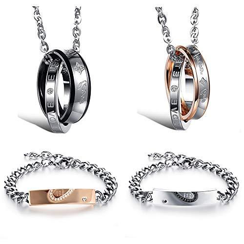 Flongo - Pulseras complementarias para hombre y mujer, hechas de acero y circonia, forman un corazón negro y dorado, ideal como regalo San Valentín Set