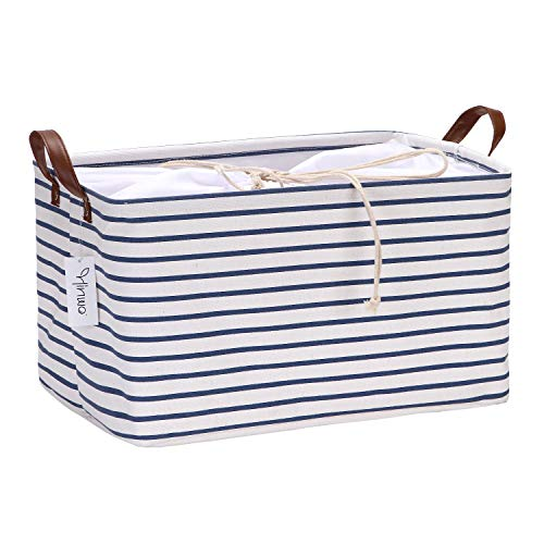 Hinwo 31L Large Capacity Storage Basket Canvas Fabric Storage Bin Collapsible Storage Box with PU Leather Handles and Drawstring Closure, 16.5 by 11.8 inches, Waterproof Inner Layer, Navy Blue Stripe