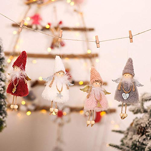 HLOMVE Christmas Decoration, Dancing Xmas Elf Angel Doll Pendant, Christmas Tree Hanging Ornaments for Girls and Kids, Home Holiday Decors, Set of 4
