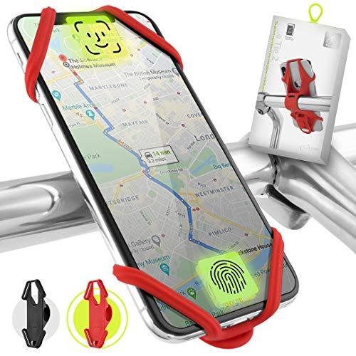 Bone Collection Face ID kompatibel, Anti-rutsch Handyhalterung Fahrrad für die Lenkstange, 4-6,5 Zoll Smartphones - Bike Tie 2, Rot