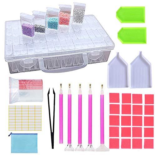 Herramienta de Pintura de Diamante 5D Diy,52pcs DIY diamante de pintura herramientas,con kits de caja de almacenamiento de 64 compartimento,Bordado de Diamante Para Arte para adultos o niños