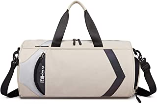 Sports Duffle Bag For Swimming Gym Yoga Hiking Camping,Sports Duffle Bag With Shoes Compartment And Wet Pocket (Color : Beige, Size : Large)