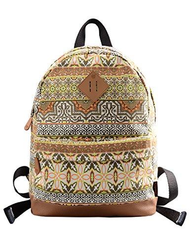 Douguyan Retro Canvas Damen Rucksäcke Mädchen Casual Travel Student Backpack for School Girls Segeltuch Schulrucksack Bunt Rucksack mit Muster Baumwoll Schultasche Reiserucksack für Women 133 Gelb