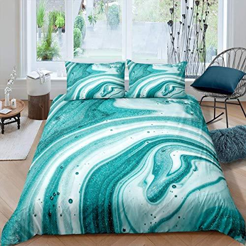 Set di biancheria da letto in marmo stampato con motivo in marmo di colore foglia di tè per ragazze e donne, design leggero e moderno, copriletto singolo con 1 federa