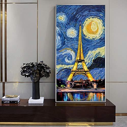 wZUN Noche Estrellada con Torre Pintura en Lienzo Arte Pop Paisaje Arte de la Pared Impresiones Decoración de la Pared del hogar 60x120 Sin Marco