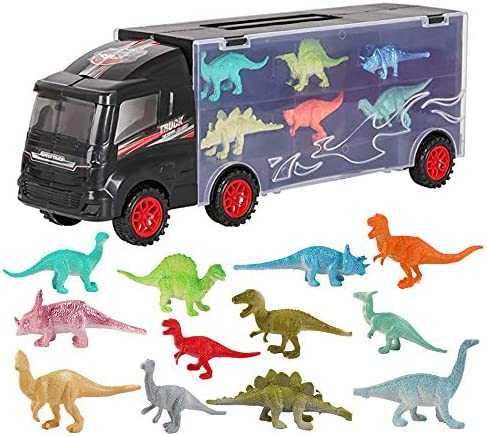 deAO Transporter Truck Carrycase for Cars Play Set Carrier Including a Total of 12 Assorted Vehicles, Accessories and Play Map