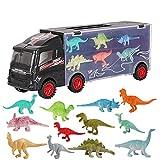 deAO Camión Transportador de Dinosaurios Maletín Portacoches en el Mundo Jurásico Conjunto Incluye Surtido de 12 Dinosaurios