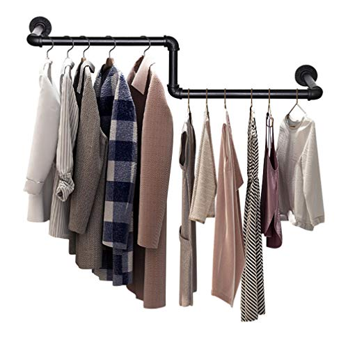 SUNMALL Industrial Pipe Clothing Rack Wall Mounted Garment Rack Clothes Racks for Hanging Clothes Heavy Duty Clothes Rod Bar for Laundry Room