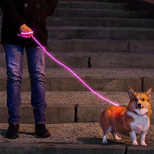 NiteyLeash - LED Glow in The Dark Pet Dog Leash (Pink)