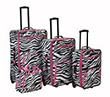 Rockland Fashion Softside Upright Luggage Set, Pink Zebra, 4-Piece (14/20/24/28)
