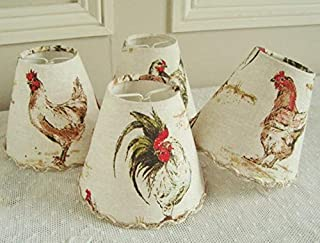 Chickens fabric chandelier lampshade for sconce or wall light, Handmade with French country style rooster and hen motifs 4.3 x 5.1 ins
