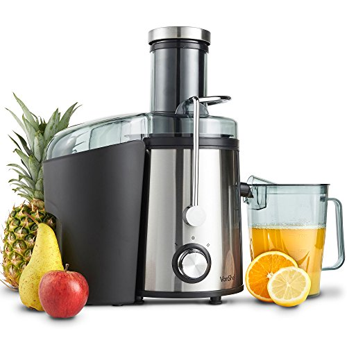 VonShef Juicer Machine for Fruit & Vegetables - Centrifugal Juicer 800W with 2 Speed Settings & Extra Wide Feeding Chute for Juice Extracting – Large, Easy to Clean 1.1L Capacity Jug for Making Juices