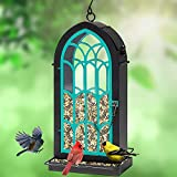 ROTOT Archway Bird Feeder, Yellow Metal Perches with 2.75 Pounds Seed Capacity - Nature Friendly (Blue)