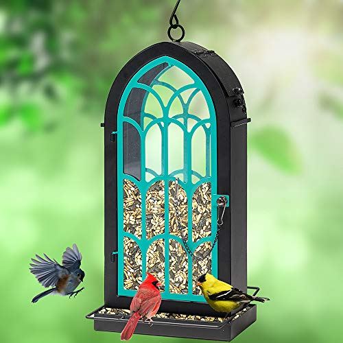 Rotot Archway Bird Feeder, Metal Perches with 2.75 Pounds Seed Capacity - Nature Friendly (Blue)