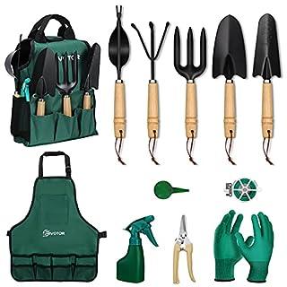 scheda eivotor 12 pezzi set di attrezzi da giardino, kit da giardinaggio professionali, con zaino da giardinaggio, grembiule da giardinaggio, guanti da giardinaggio, gegali da giardino per uomo donna