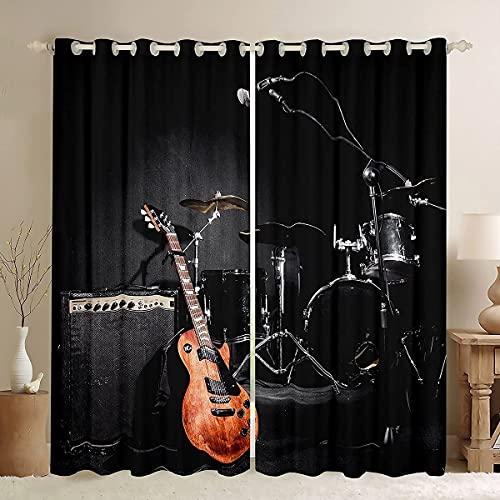 Cortinas para ventanas de guitarra, color negro, decoración del hogar, decoración del hogar, cortinas para sala de estar, juego de música, cortinas retro para ventana, 46 x 72 pulgadas