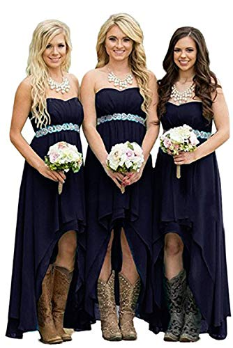 homdor Strapless Bridesmaid Dresses High Low Chiffon Country Wedding Party Gowns Navy Blue Size 2
