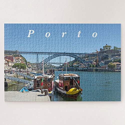 Wooden Jigsaw Puzzle 500 Piece for Adults, Porto. Douro River and Dom Luis I Bridge Jigsaw Puzzle ame Toys ift Jigsaw Puzzle