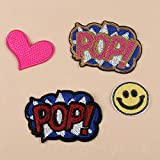 A/N Sew On/Iron On Patch Embroidery Badge Patch, Suitable for DIY Jackets T-Shirt Backpacks, Jeans, 4 Stück Liebesbrief Smiley Pailletten Set