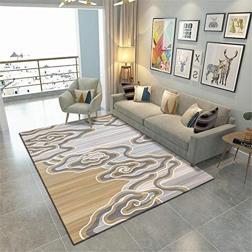 La alfombras duradera Antideslizante interioresAlfombra Alfombra de la mesa de centro de la sala de estar del patrón de flujo de agua de graffiti abstracto gris amarillo Grande Alfombras 180*250cm