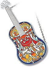 Amia Spanish Guitar Suncatcher Hand-Painted Glass, 12-1/8-Inch Long