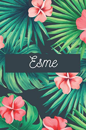 Esme: Personalised name journal notebook diary for Esme, 6x9in lined journal with green and pink flowers cover, journal gift for women and girls, ... and birthday gift for girls and women
