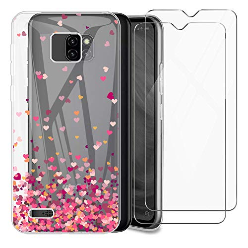 (3 in 1) for Ulefone Note 7 Case + (2 Pack) Glass Screen Protector Slim Clear Soft TPU Silicone Phone Case Cover with (Love) Transparent for Ulefone Note 7