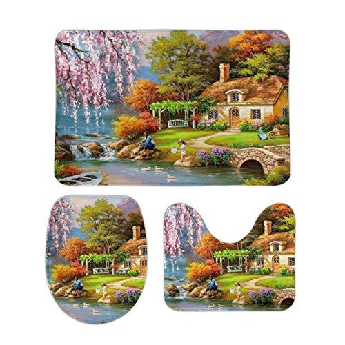 Alfombra bellamente Impresa, 15 '' × 25 '', Alfombra de Terciopelo de Coral Tres Juegos, Pintura de Paisaje de Vida Rural