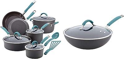 Rachael Ray Cucina Cookware Pots /& Pans Set,12-Pcs Hard Anodized Nonstick NEW*