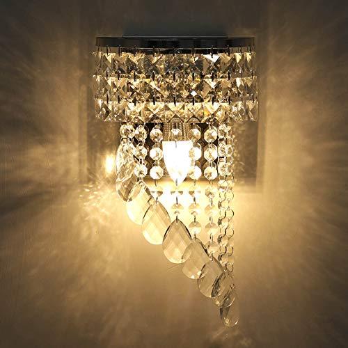 KAWELL Moderno Applique da Parete In Cristallo K9 Interno LED Lampada da Parete Cristallo Lampada da Muro Base E14 per Camera da Letto Soggiorno Corridoio Scale Camera delle Ragazze Sala da Pranzo