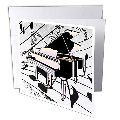 3dRose gc_39051_2 wenskaarten in Art Deco-design, piano op witte achtergrond, 15,2 x 15,2 cm, zwart/roze