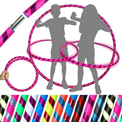 Pro KIDS HULA HOOP Reifen für Kleine Erwachsene und Kinder (10 Farben Ultra-Grip/Glitter Deco) Faltbarer TRAVEL Hula Hoop ideal für Hoop Dance!- Größe 85cm, Gewicht 420g (Rosa / Lila Glitter)