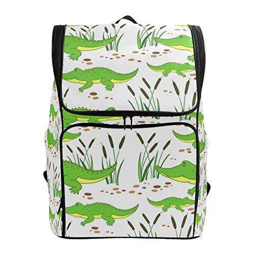 Mochila escolar impermeable para niñas y niños de dibujos animados pequeños cocodrilos senderismo mochila deportiva