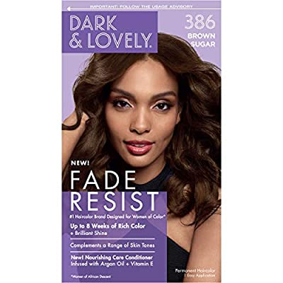 Softsheen-Carson Dark and Lovely Fade Resist Rich Conditioning Hair Color, Permanent Hair Color, Up To 100% Gray Coverage, Brilliant Shine with Argan Oil and Vitamin E, Brown Sugar