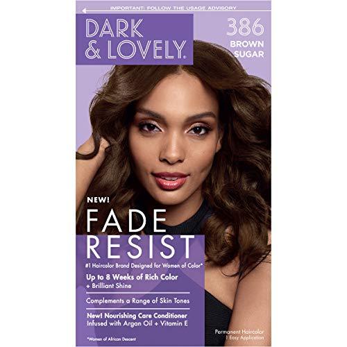 Dark & Lovely SoftsheenCarson and Fade Resist Rich Conditioning Hair Color Permanent Hair Color Up To 100 Gray Coverage Brilliant Shine with Argan Oil and Vitamin E, Brown Sugar 386, 1 Count
