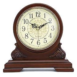 Mantel Clock Silent Wood Shelf Clock Mantle Clocks Battery Operated, Wooden Desk Clocks Mantel Clocks with Chimes for Bedroom, Living Room, Fireplace, Office, Kitchen, Desk, Home Essentials Decor