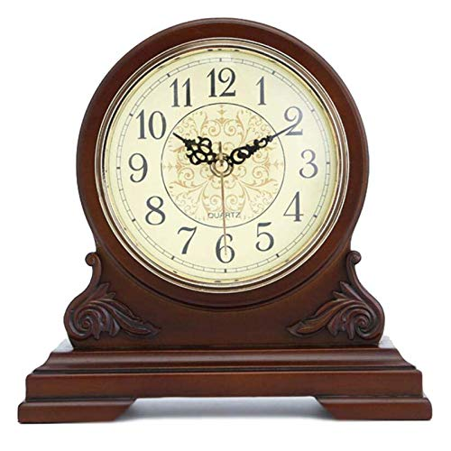 Mantel Clock Silent Decorative Wood Mantle Clock Battery Operated, Wooden Design for Living Room, Fireplace, Office, Kitchen, Desk, Shelf & Home Décor Gift